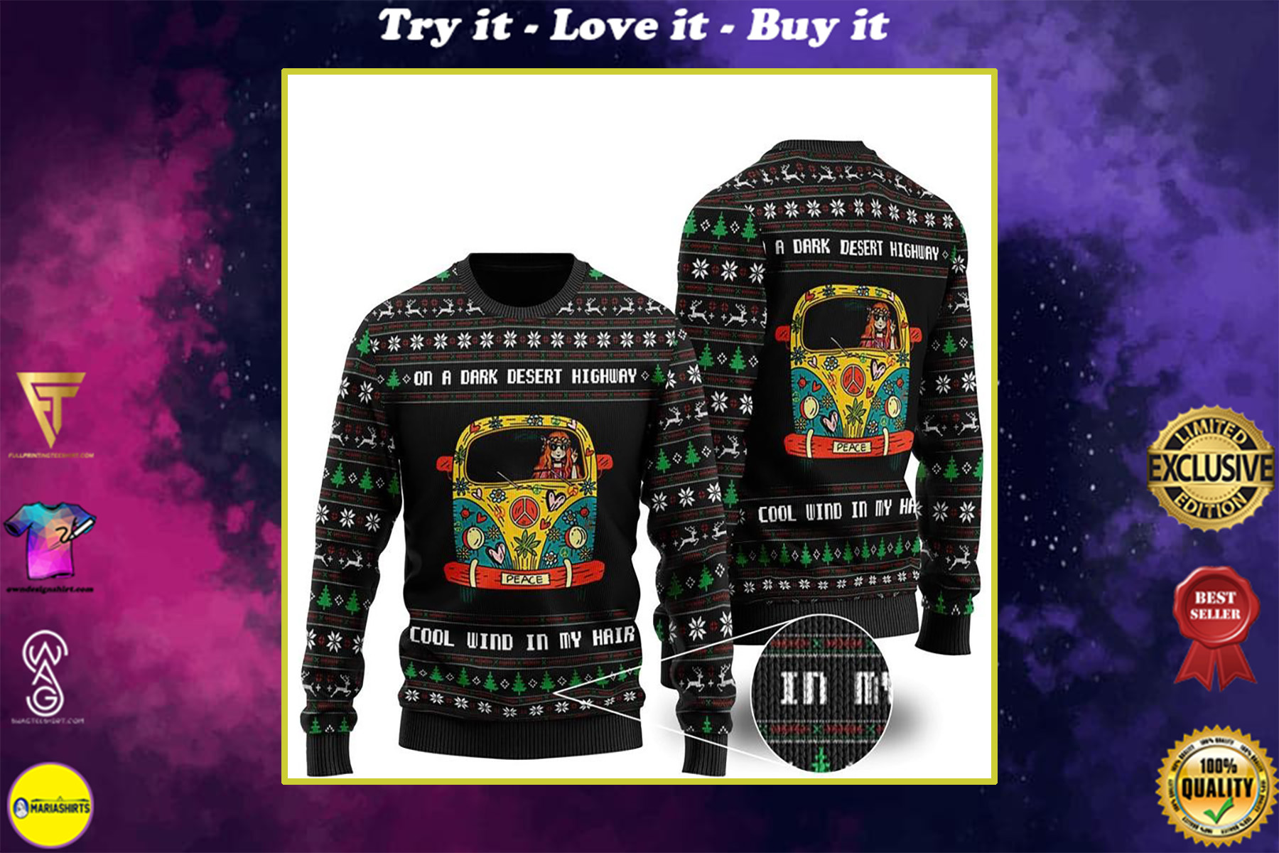 on a dark desert highway cool wind in my hair hippie girl ugly christmas sweater