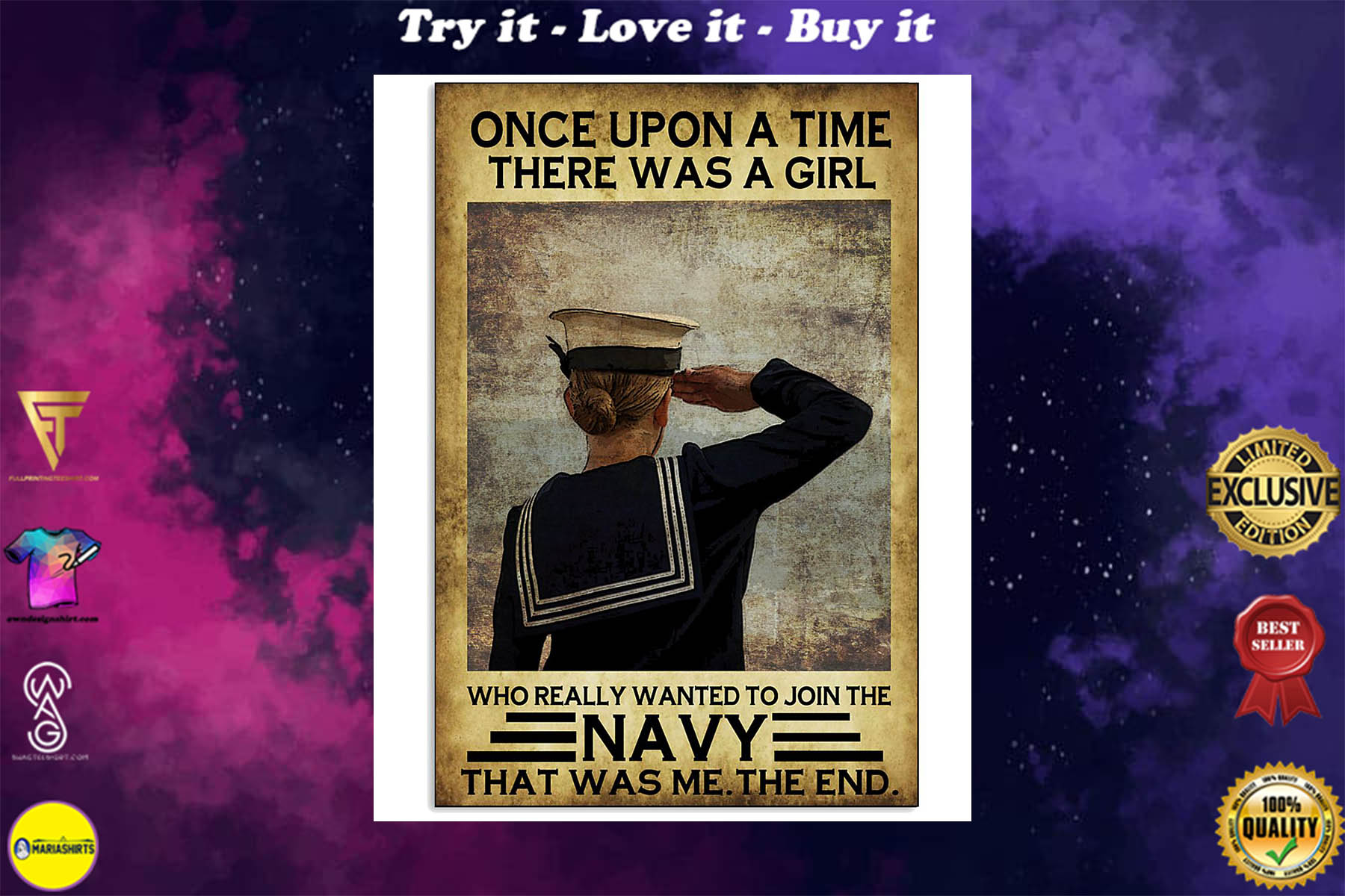 once upon a time there was a girl who really wanted to join the navy retro poster