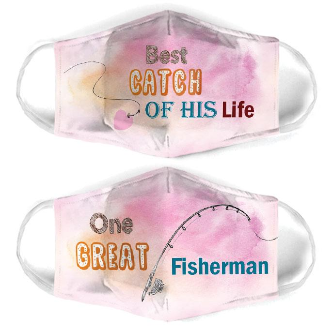 one great fisherman couple all over print face mask 3