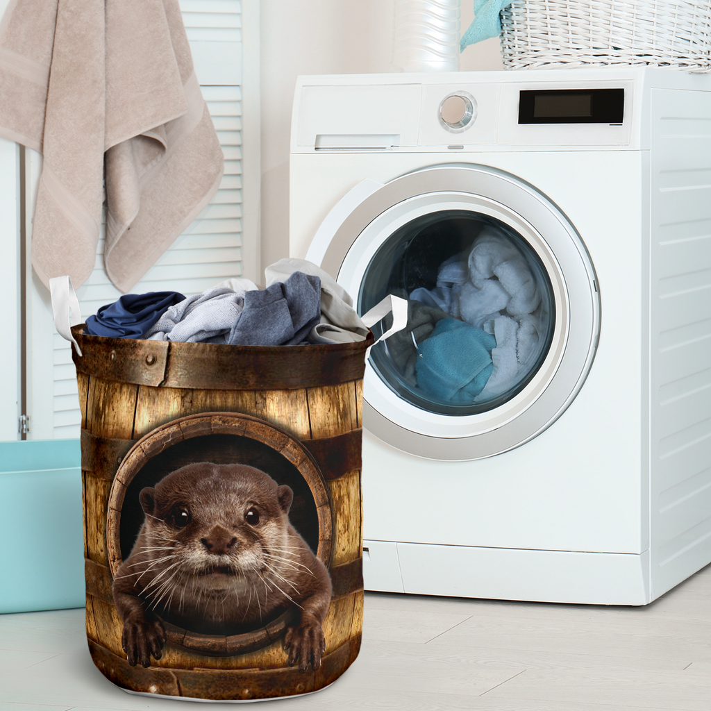 otter wood pattern all over printed laundry basket 2