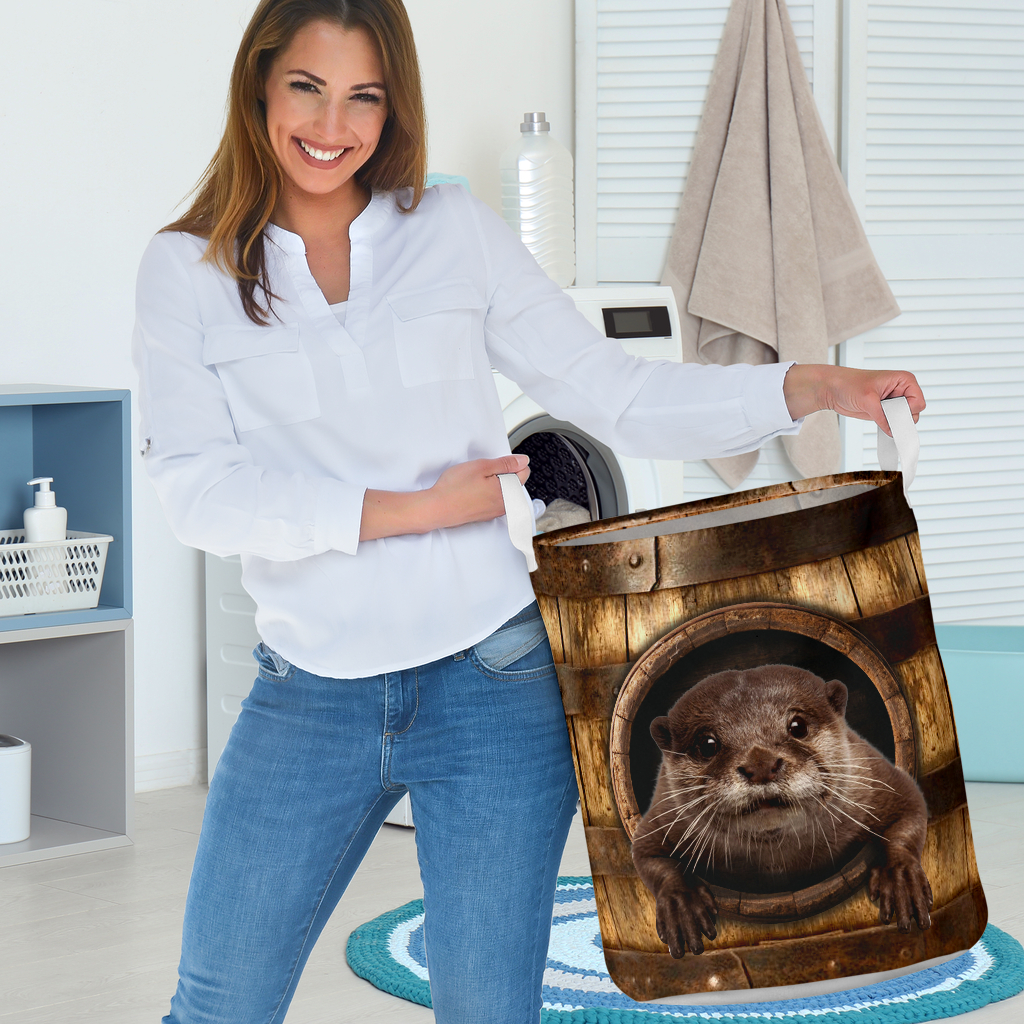 otter wood pattern all over printed laundry basket 3