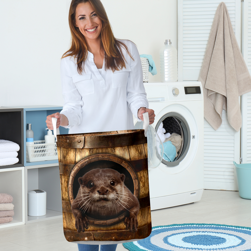 otter wood pattern all over printed laundry basket 5