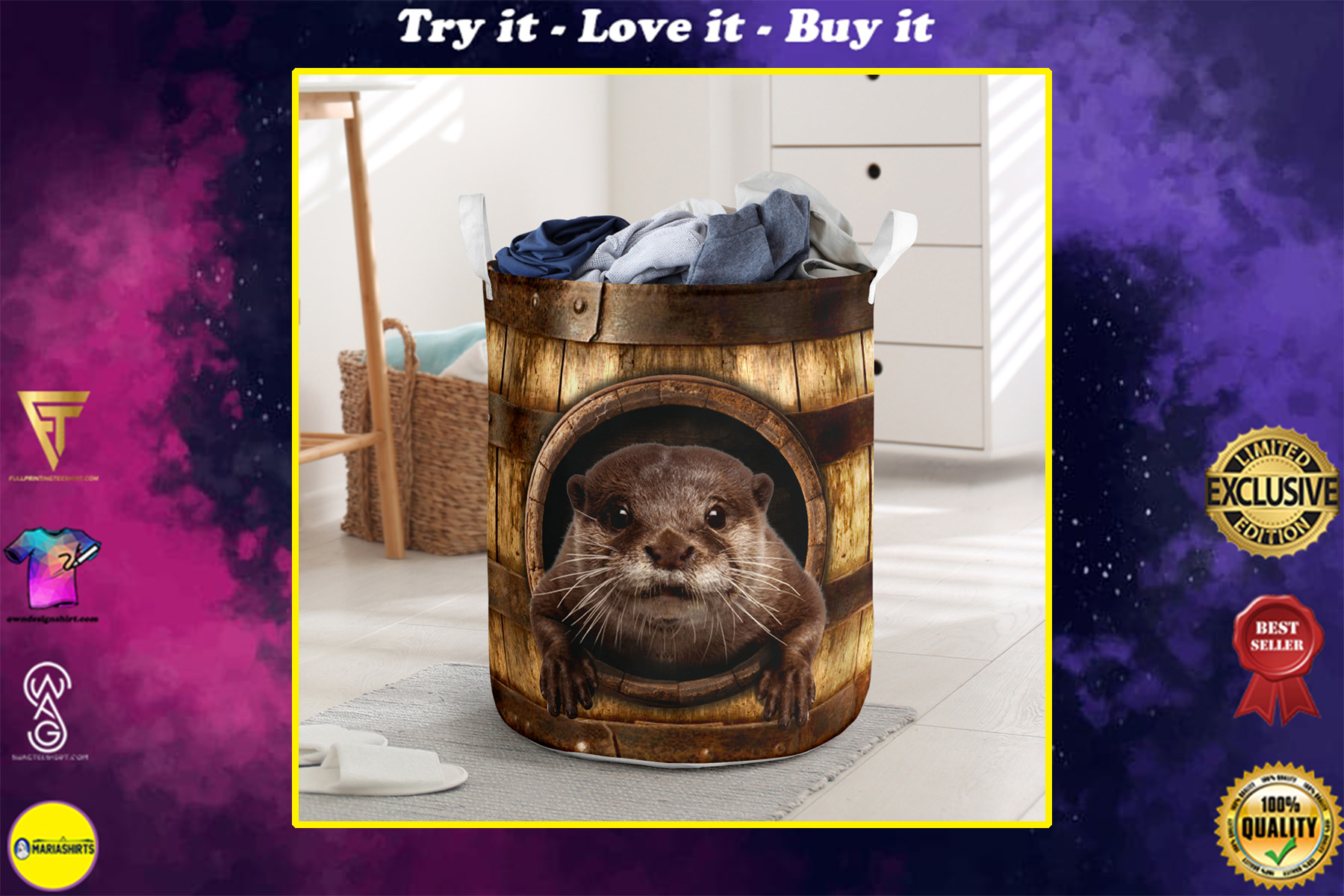 otter wood pattern all over printed laundry basket