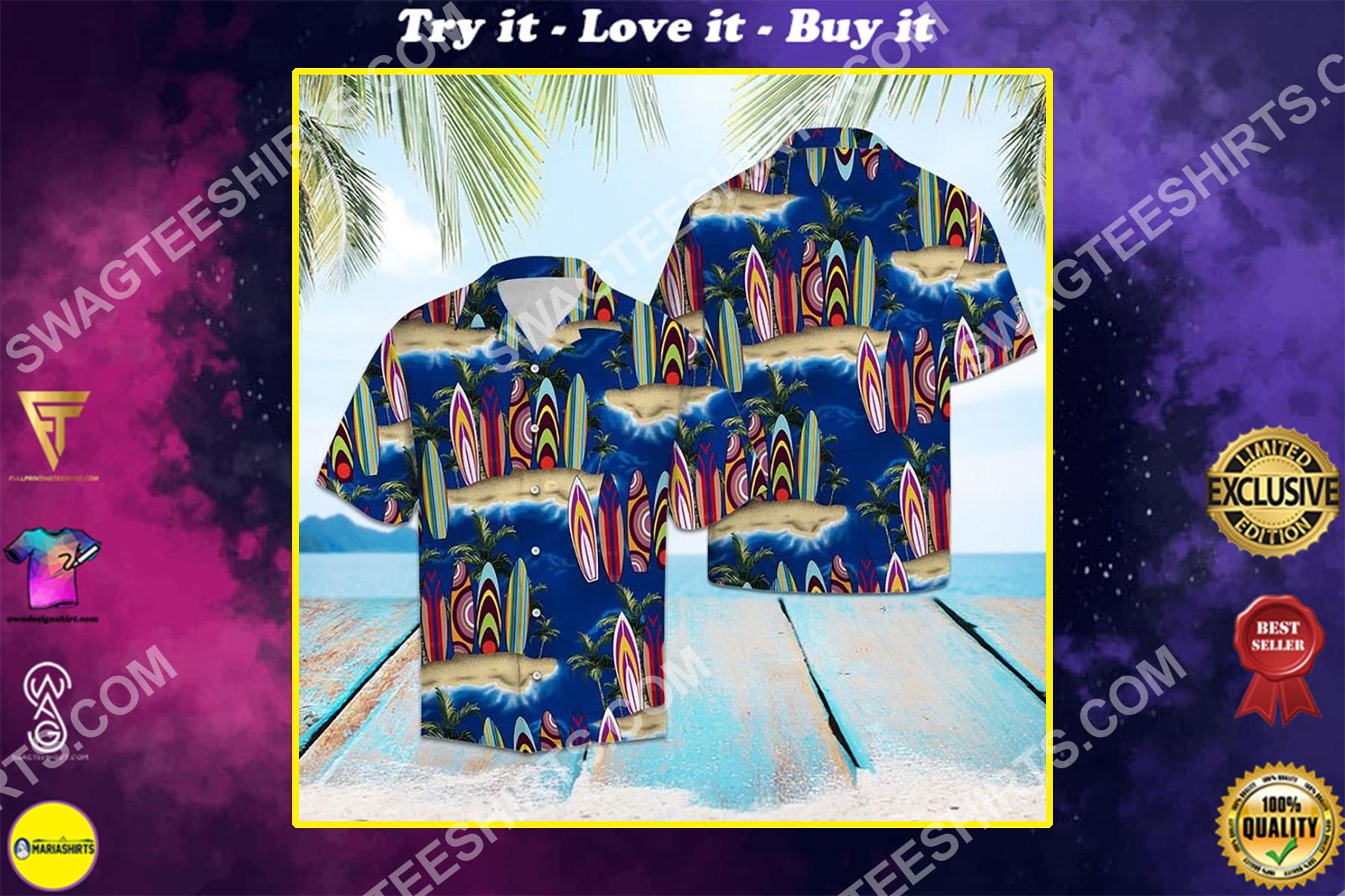 palm tree surfboard all over printed hawaiian shirt