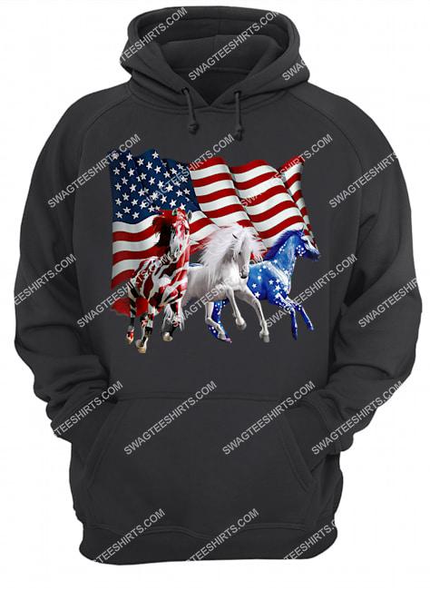 patriotic us flag 4th of july horse lovers hoodie 1