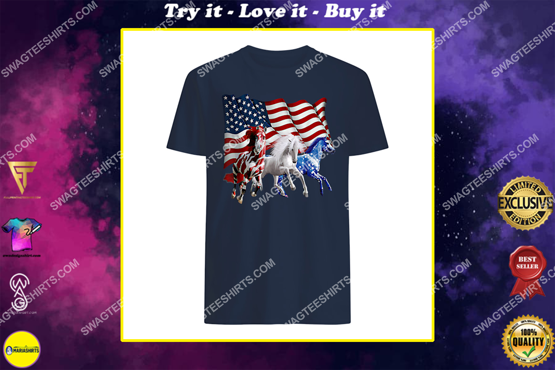 patriotic us flag 4th of july horse lovers shirt