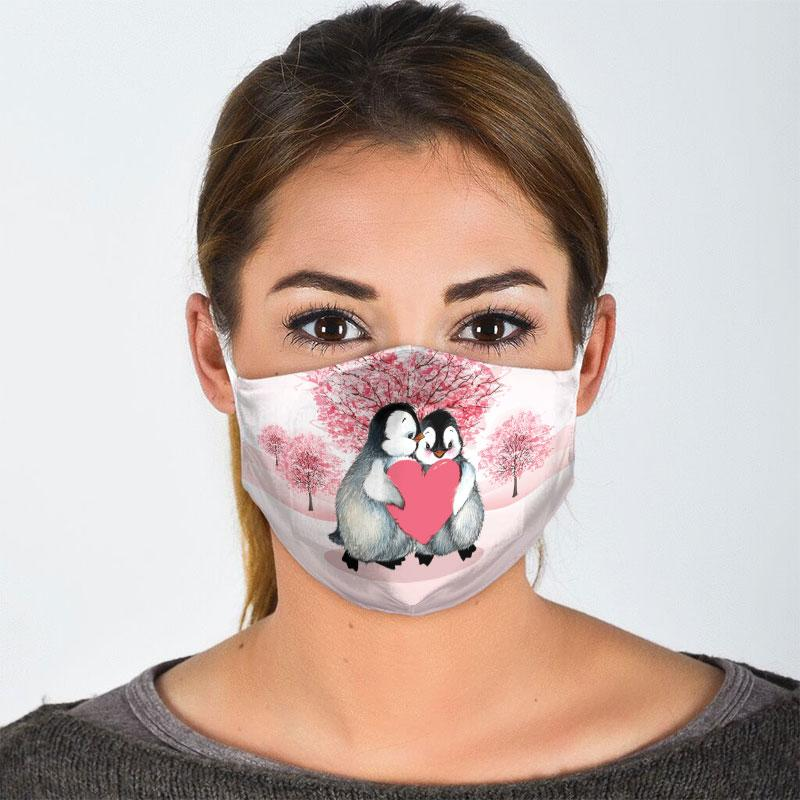 penguin couple love all over print face mask 3