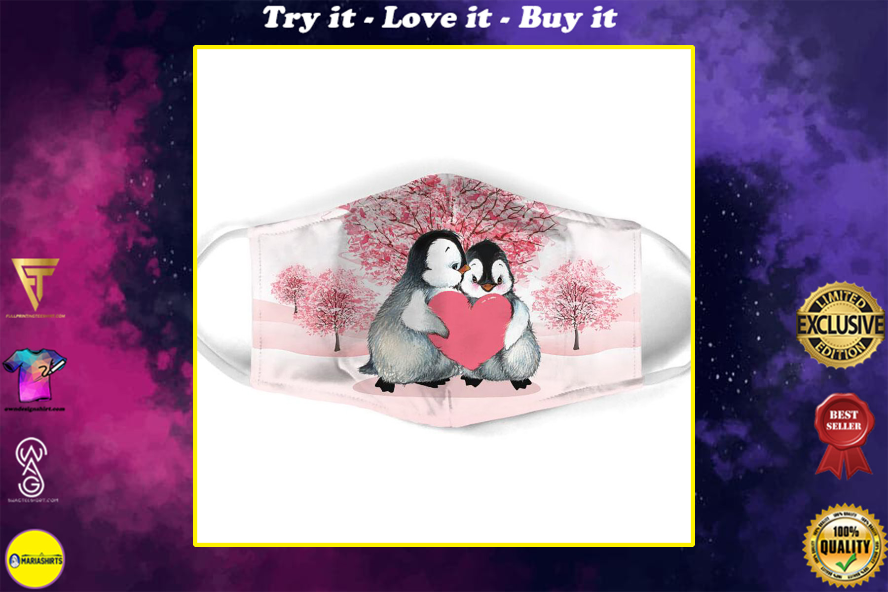 penguin couple love all over print face mask