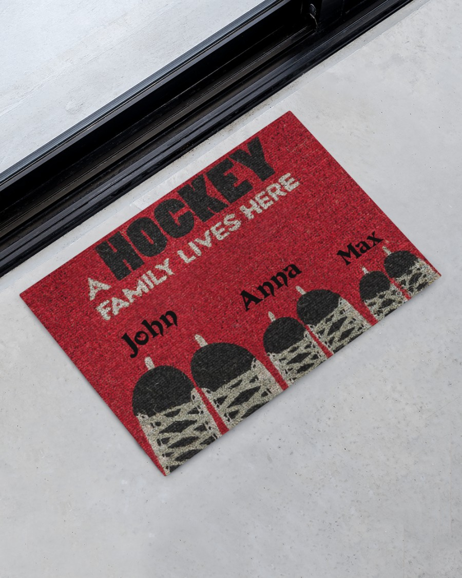 personalized a hockey family lives here full printing doormat 2