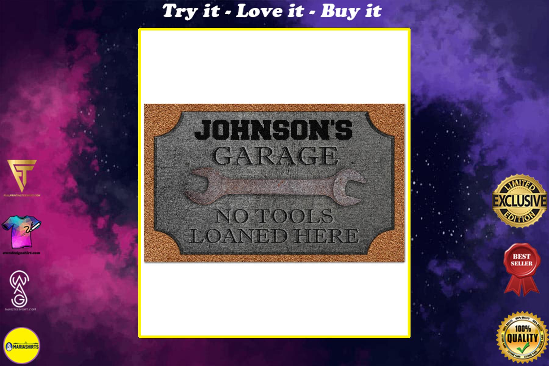 personalized auto mechanic metal garage no tools loaned here full printing doormat