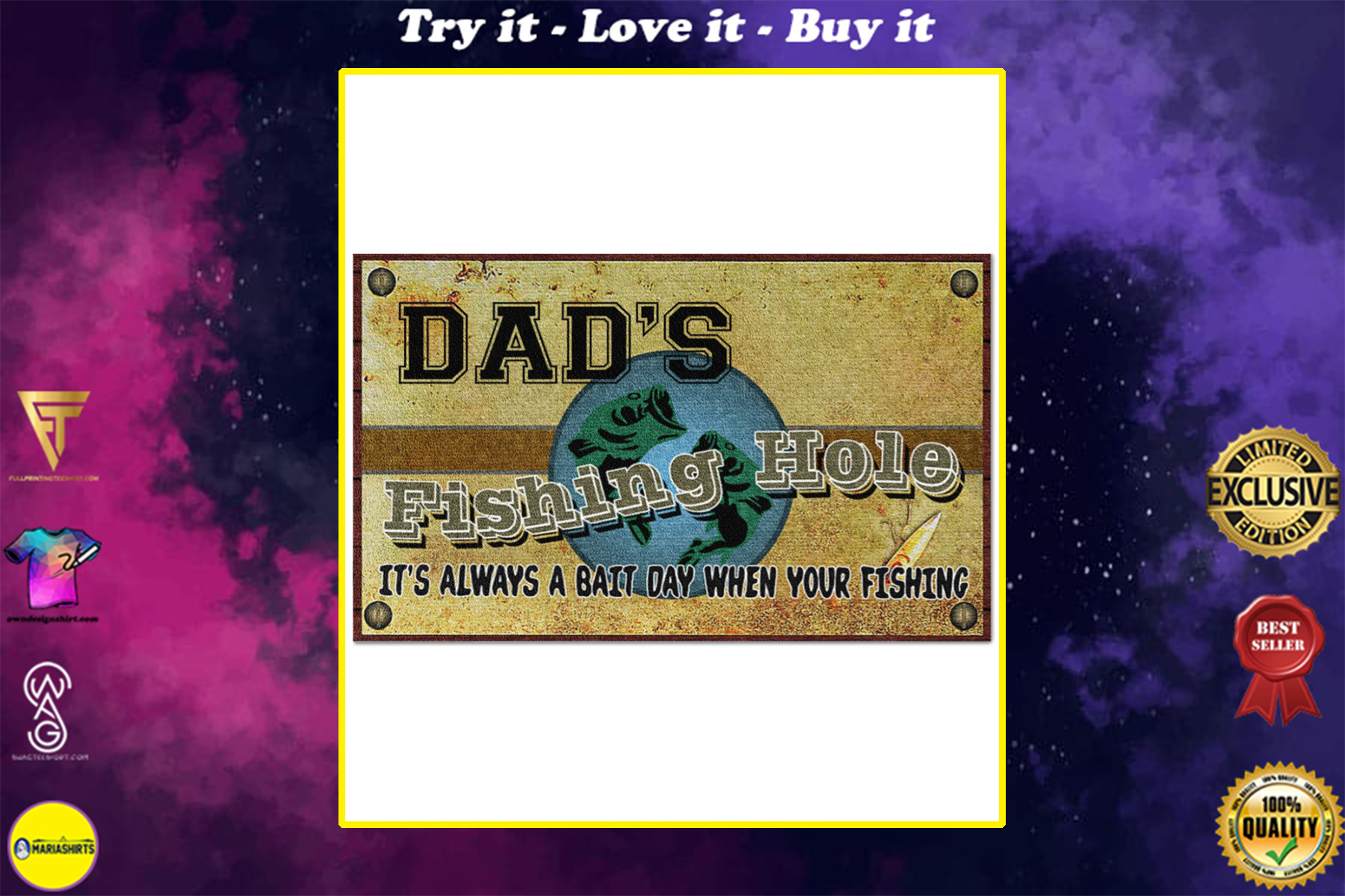 personalized fishing hole its always a bait day when your fishing full printing doormat