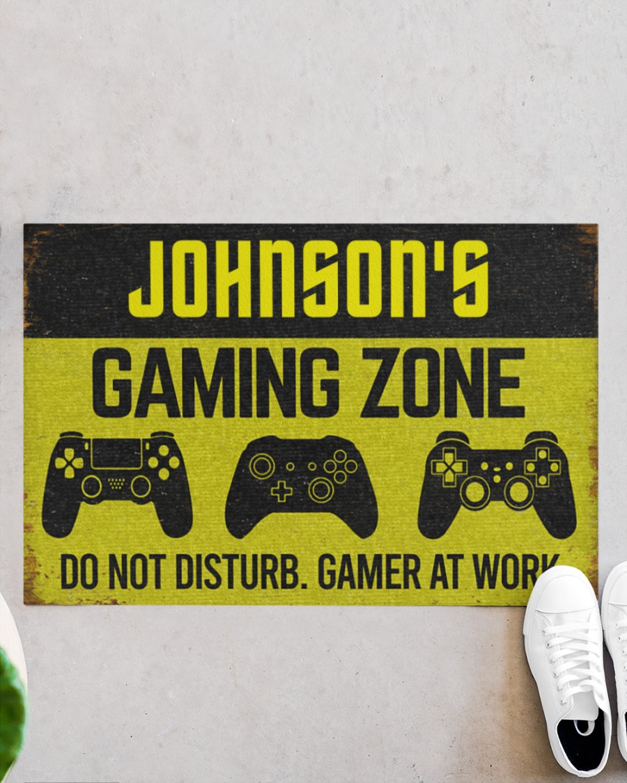 personalized gaming zone do not disturb gamer at work full printing doormat 2