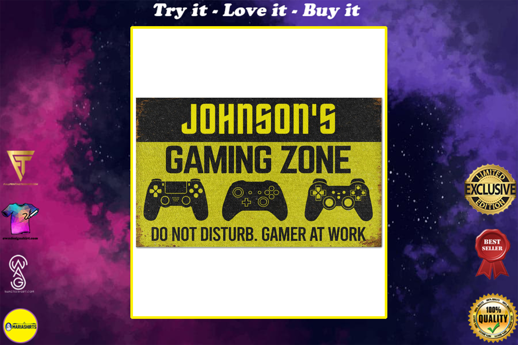 personalized gaming zone do not disturb gamer at work full printing doormat