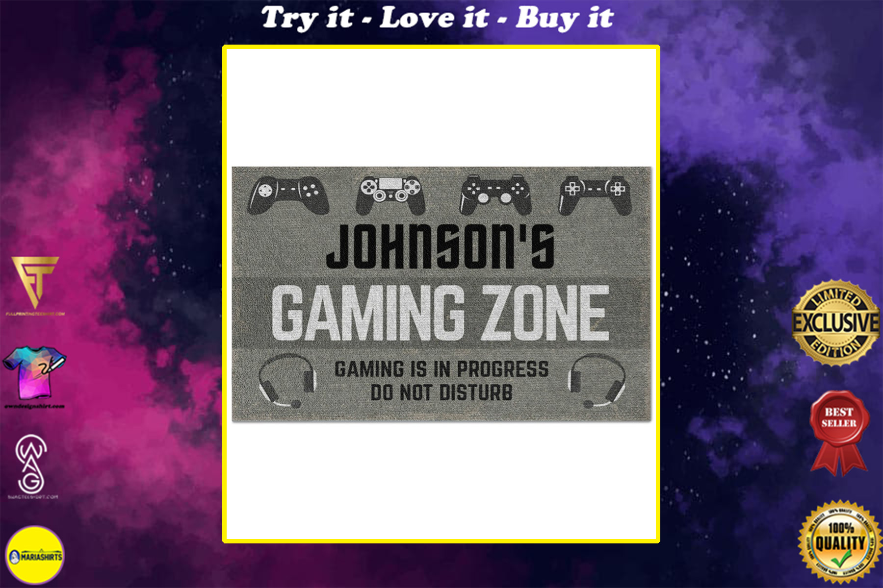 personalized gaming zone gaming is in progress do not disturb full printing doormat