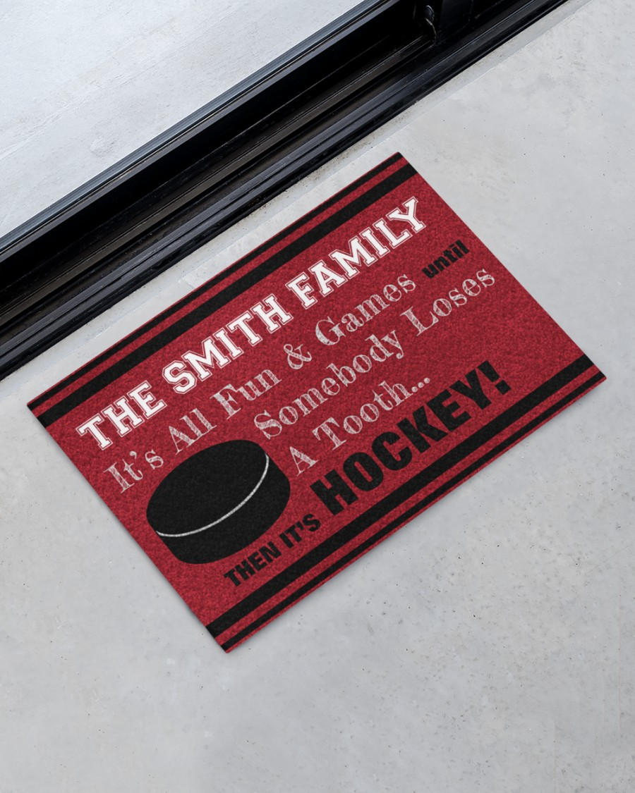 personalized hockey family its all fun and game full printing doormat 2