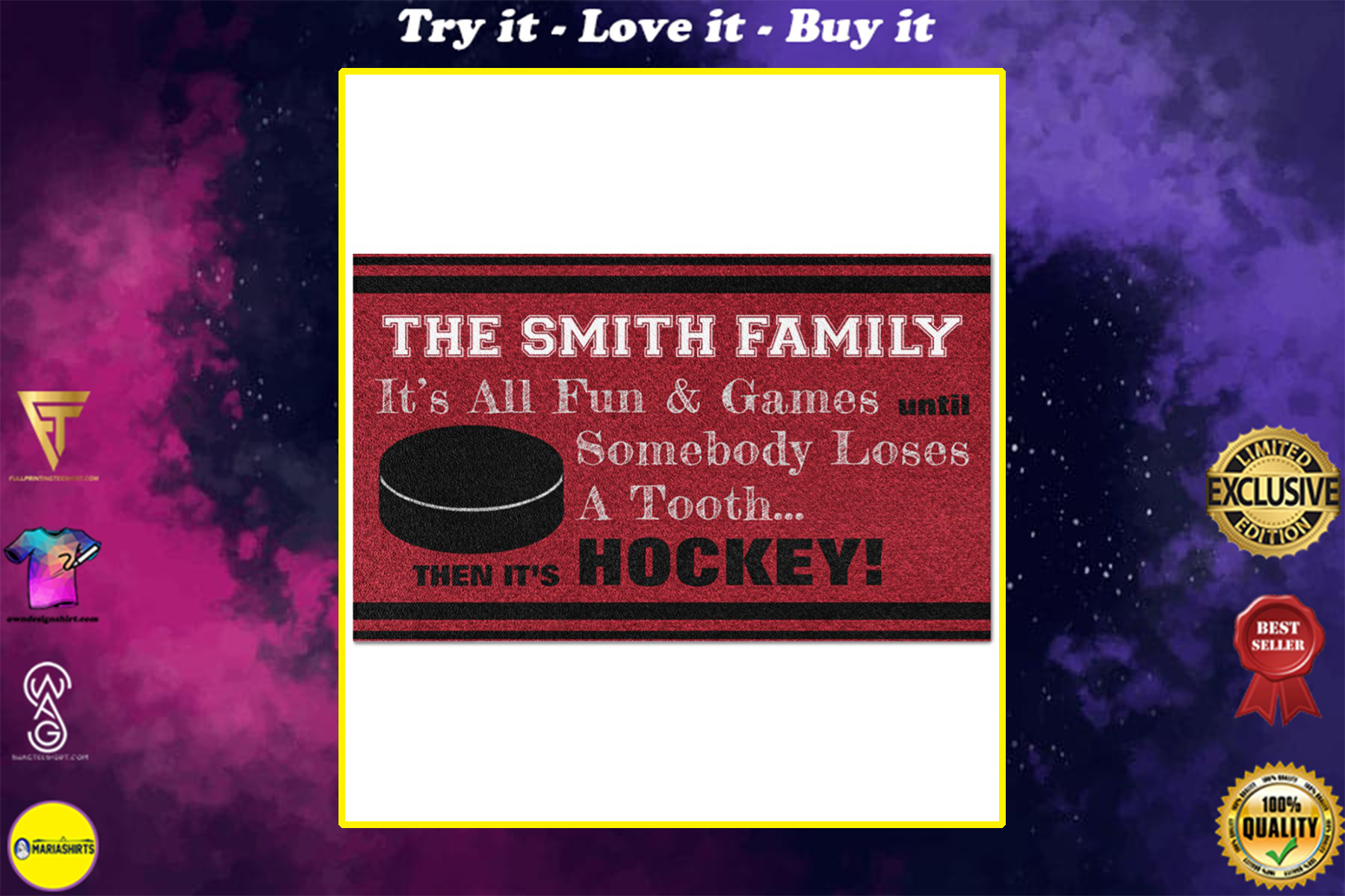 personalized hockey family its all fun and game full printing doormat