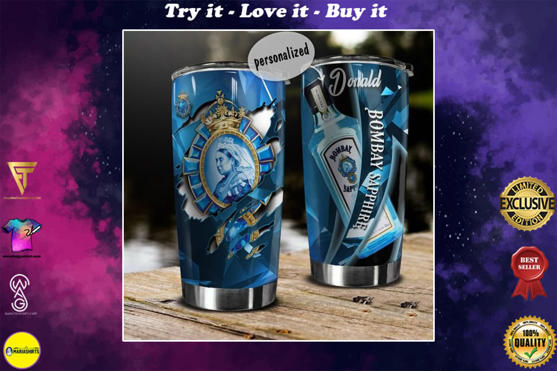 personalized name bombay sapphire gin tumbler