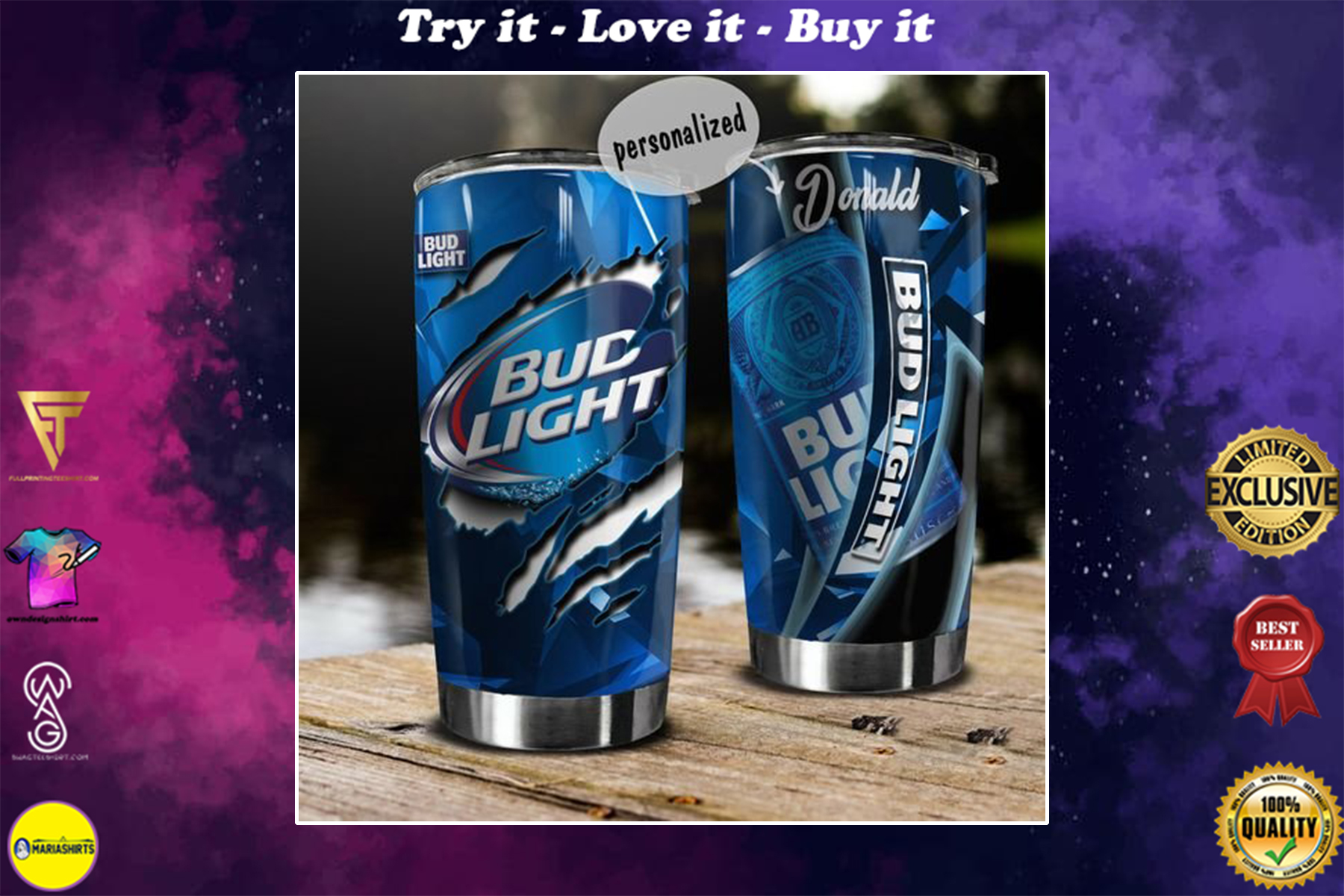 personalized name bud light beer tumbler