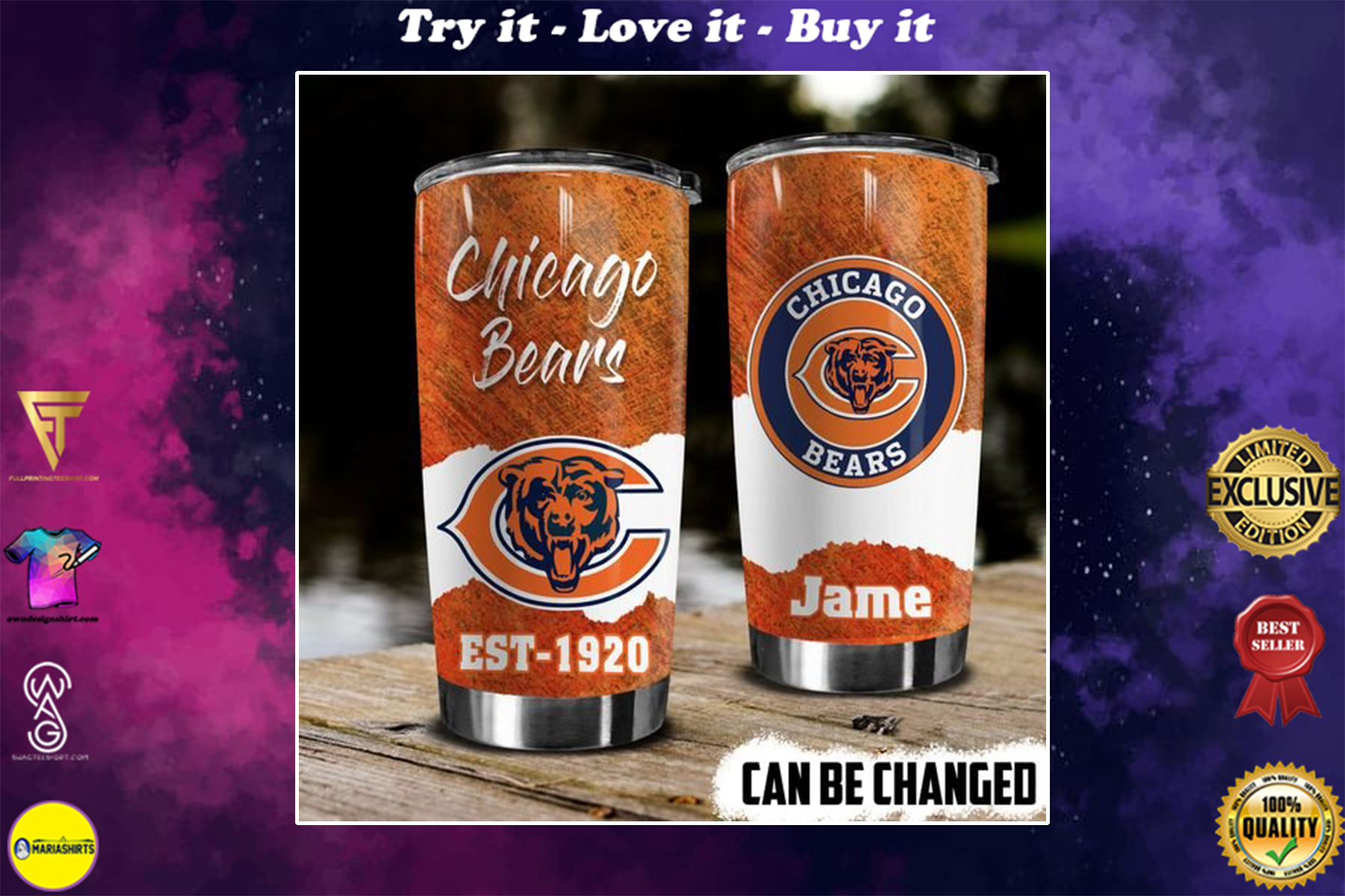 personalized name chicago bears american football team tumbler