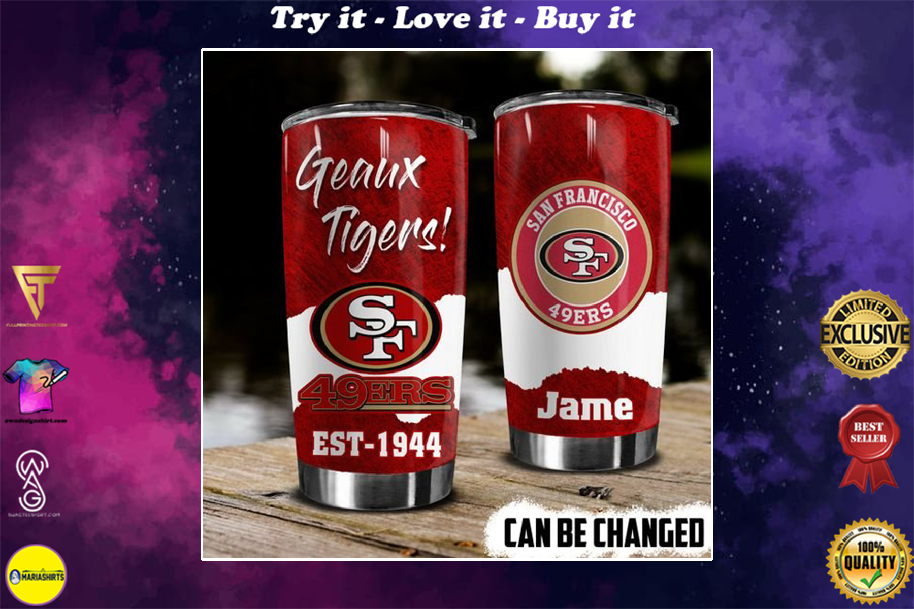 personalized name geaux tigers san francisco 49ers tumbler