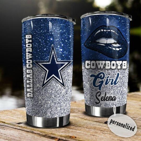 personalized name glitter lips dallas cowboys tumbler 1