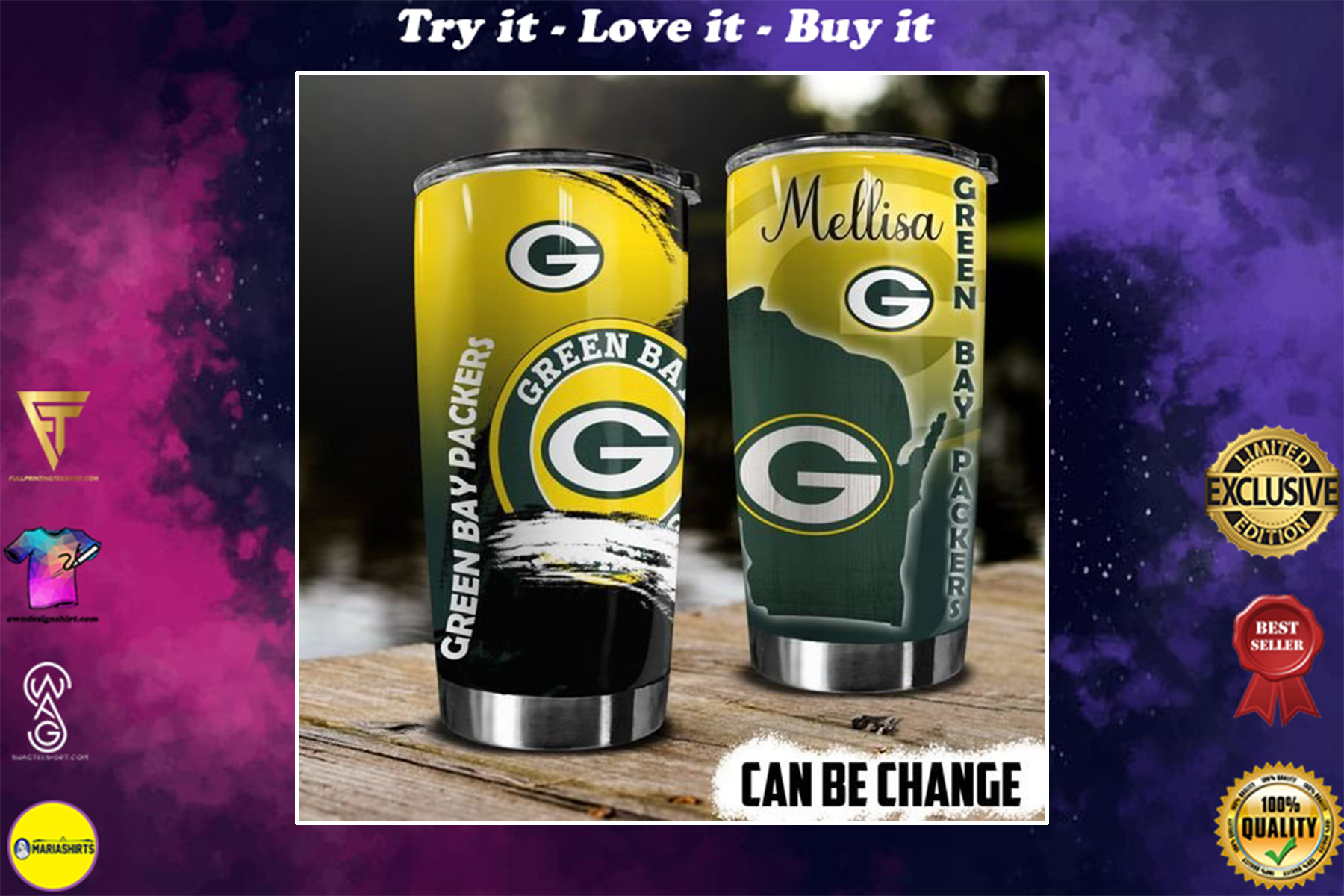 personalized name green bay packers football team tumbler