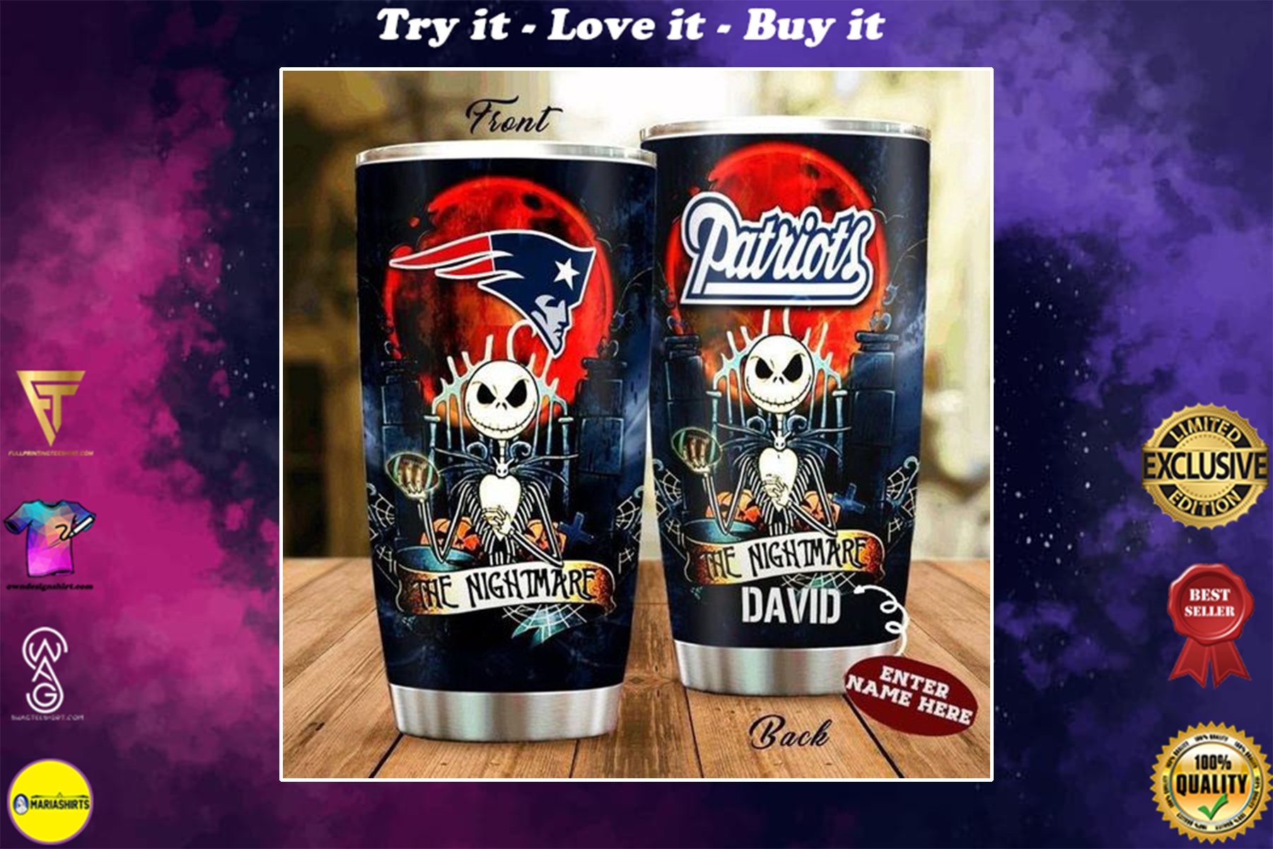 personalized name jack skellington and new england patriots tumbler
