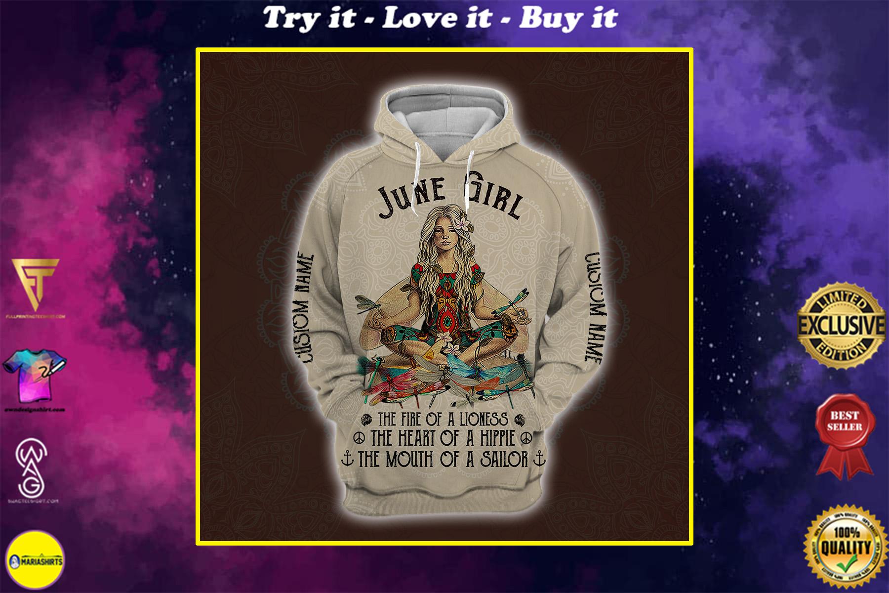 personalized name june yoga girl full printing shirt