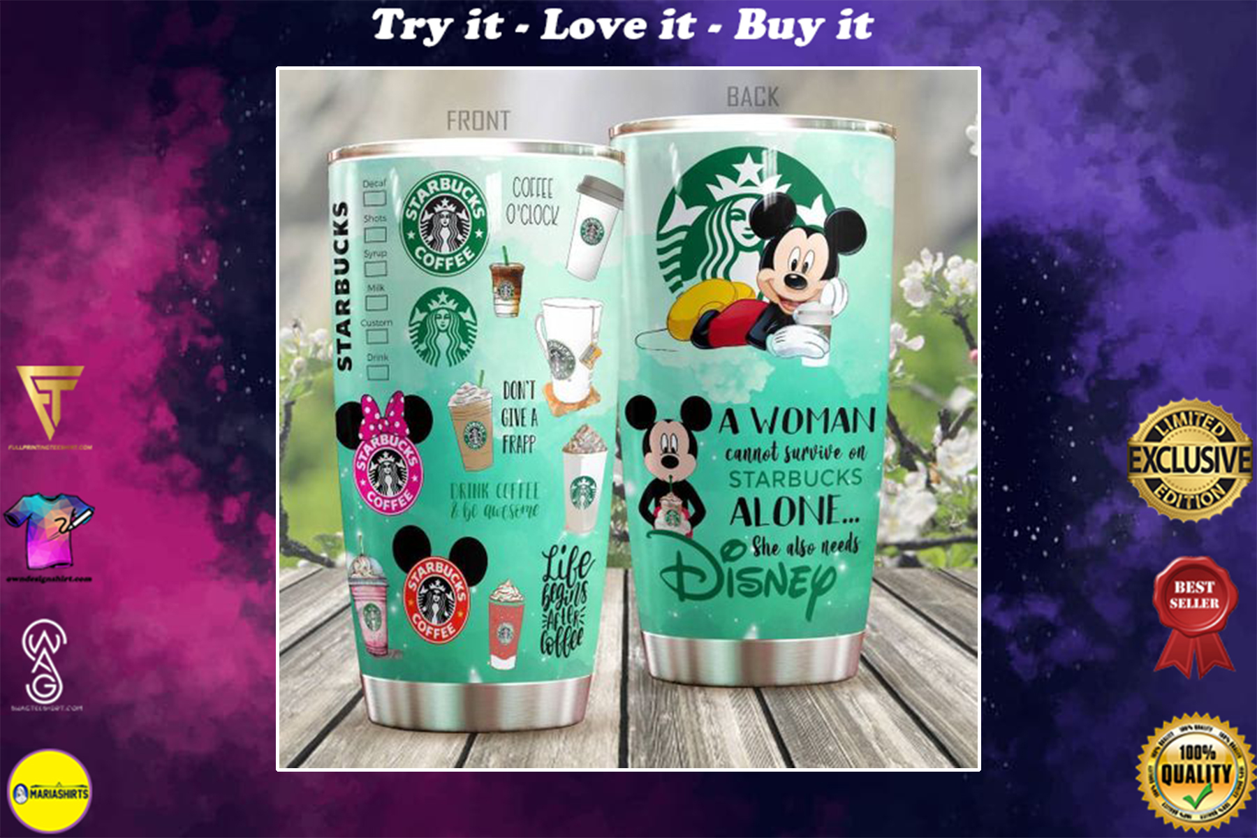 personalized name mickey mouse and starbucks tumbler