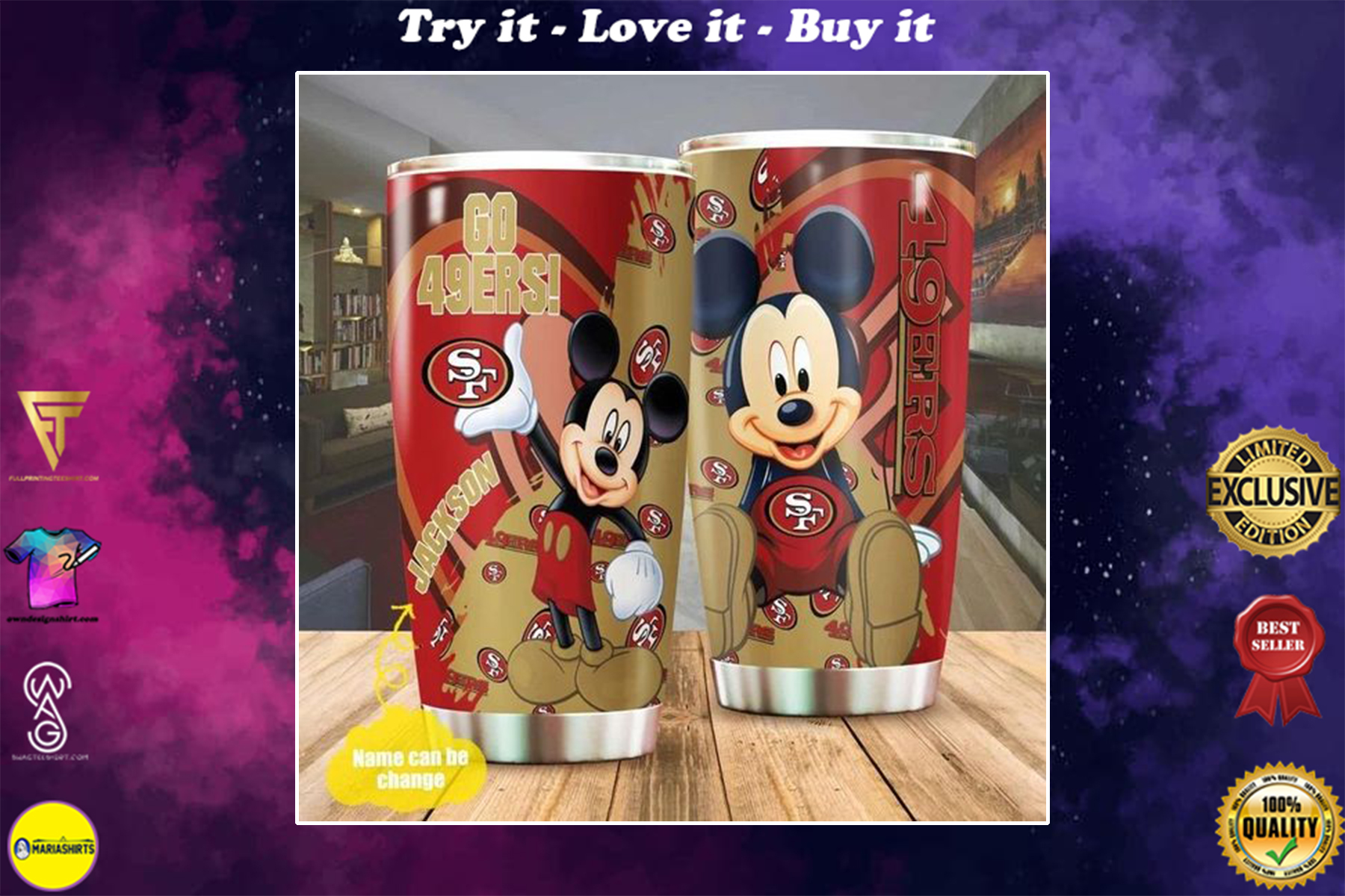 personalized name mickey mouse san francisco 49ers tumbler