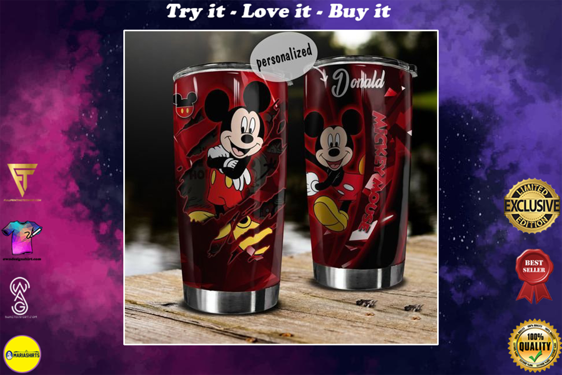 personalized name mickey mouse tumbler