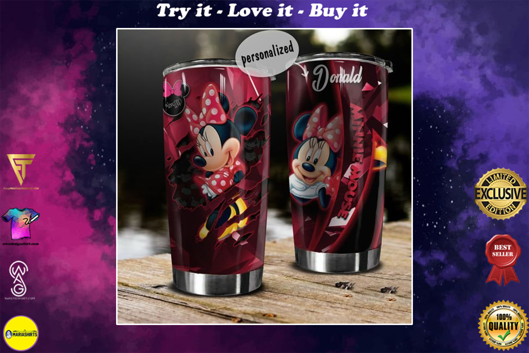 personalized name minnie mouse tumbler