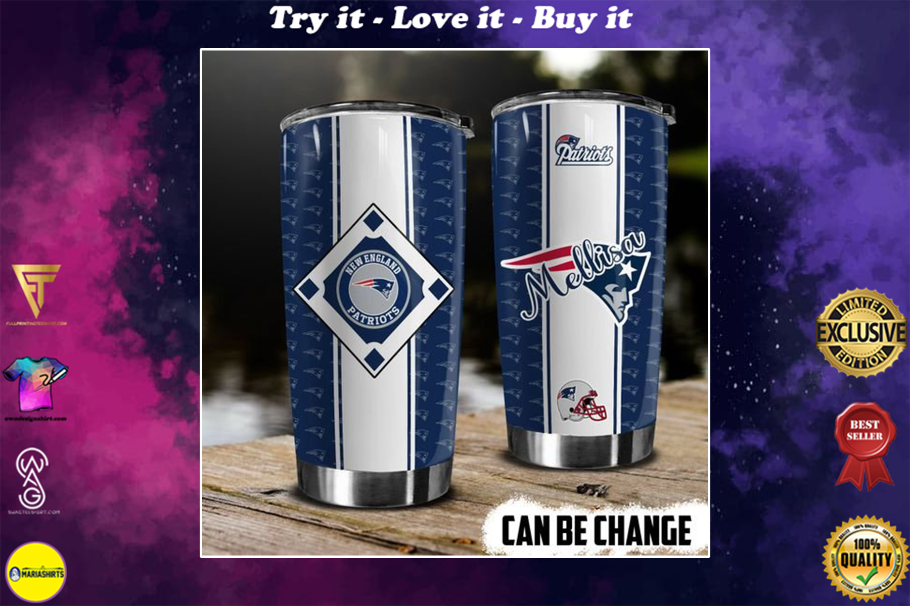 personalized name new england patriots american football team tumbler