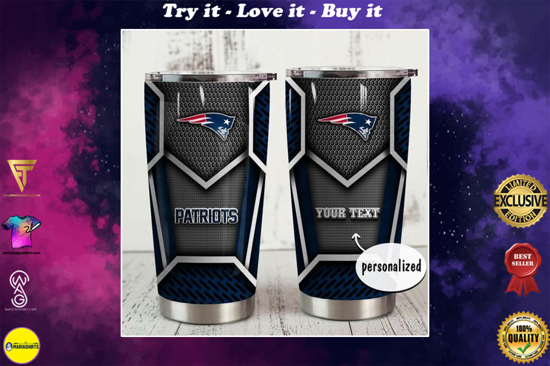 personalized name new england patriots nfl tumbler