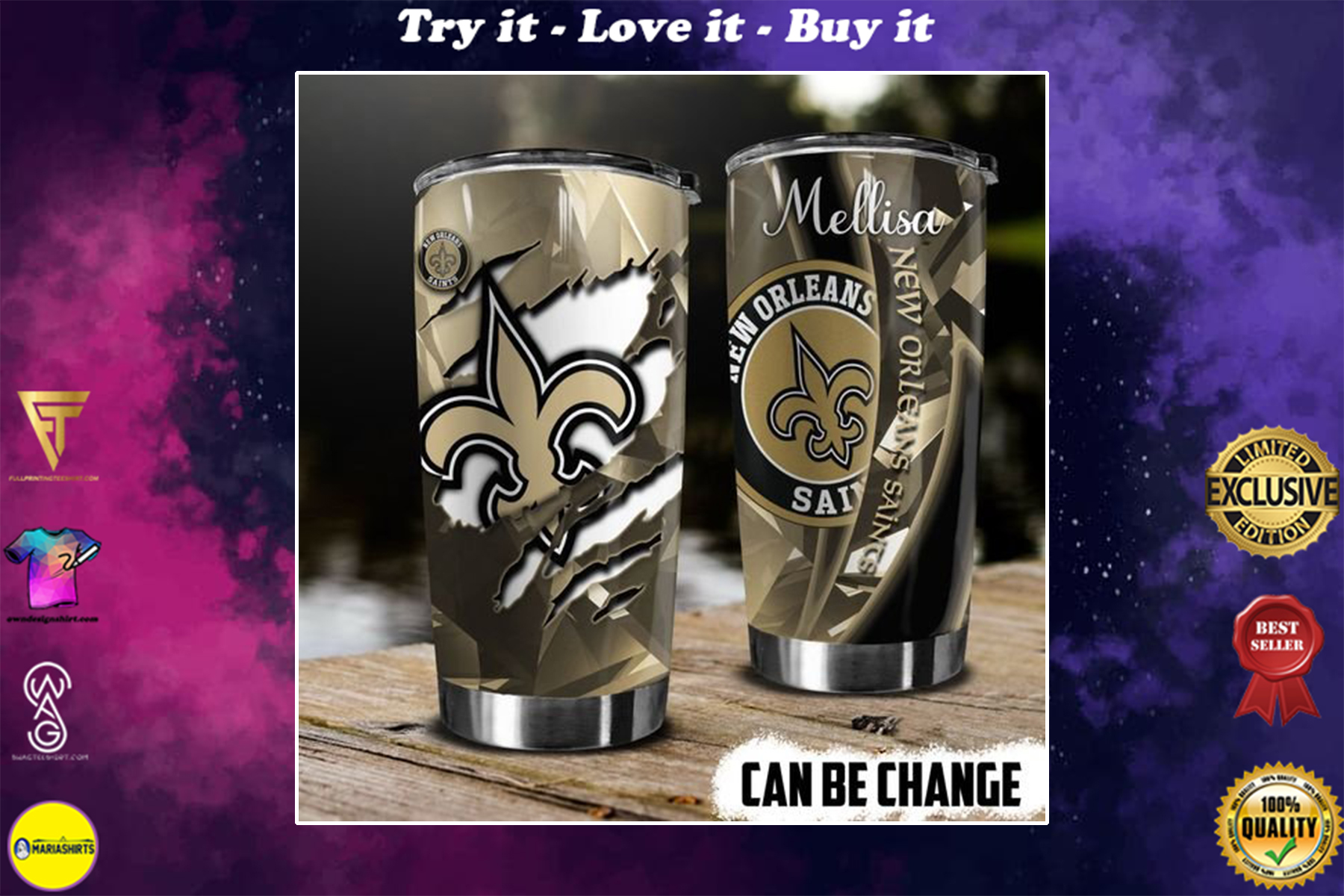 personalized name new orleans saints american football team tumbler