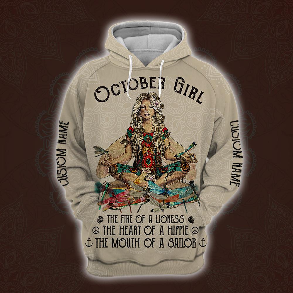 personalized name october yoga girl full printing shirt 3