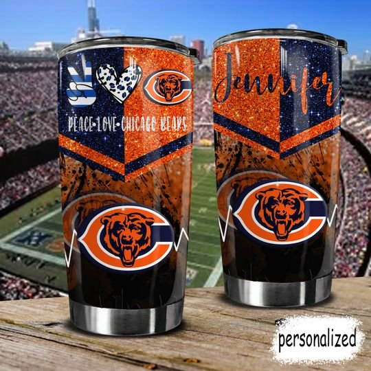 personalized name peace love chicago bears tumbler 1