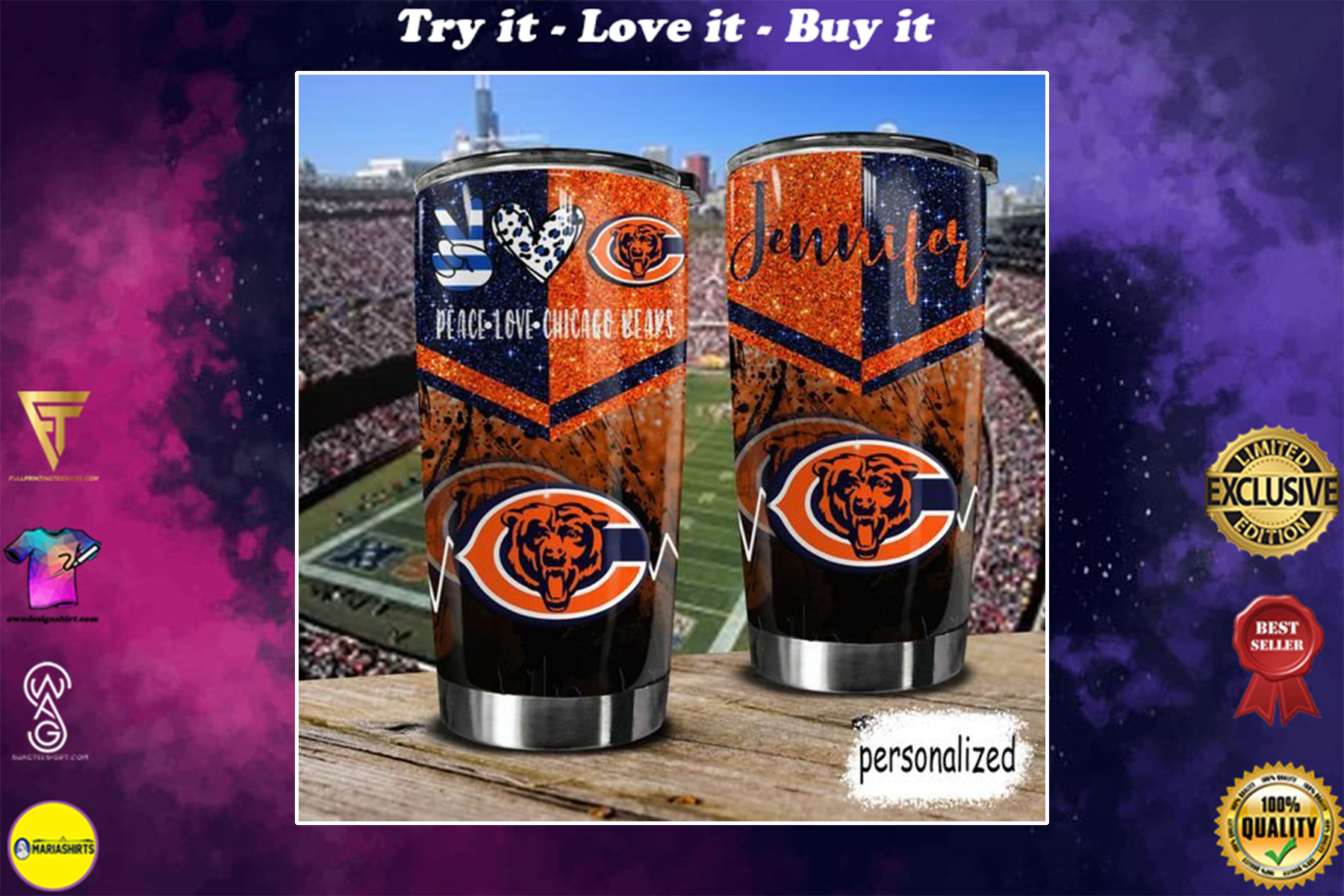 personalized name peace love chicago bears tumbler