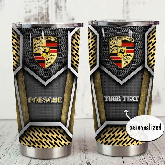 personalized name porsche symbol tumbler 1