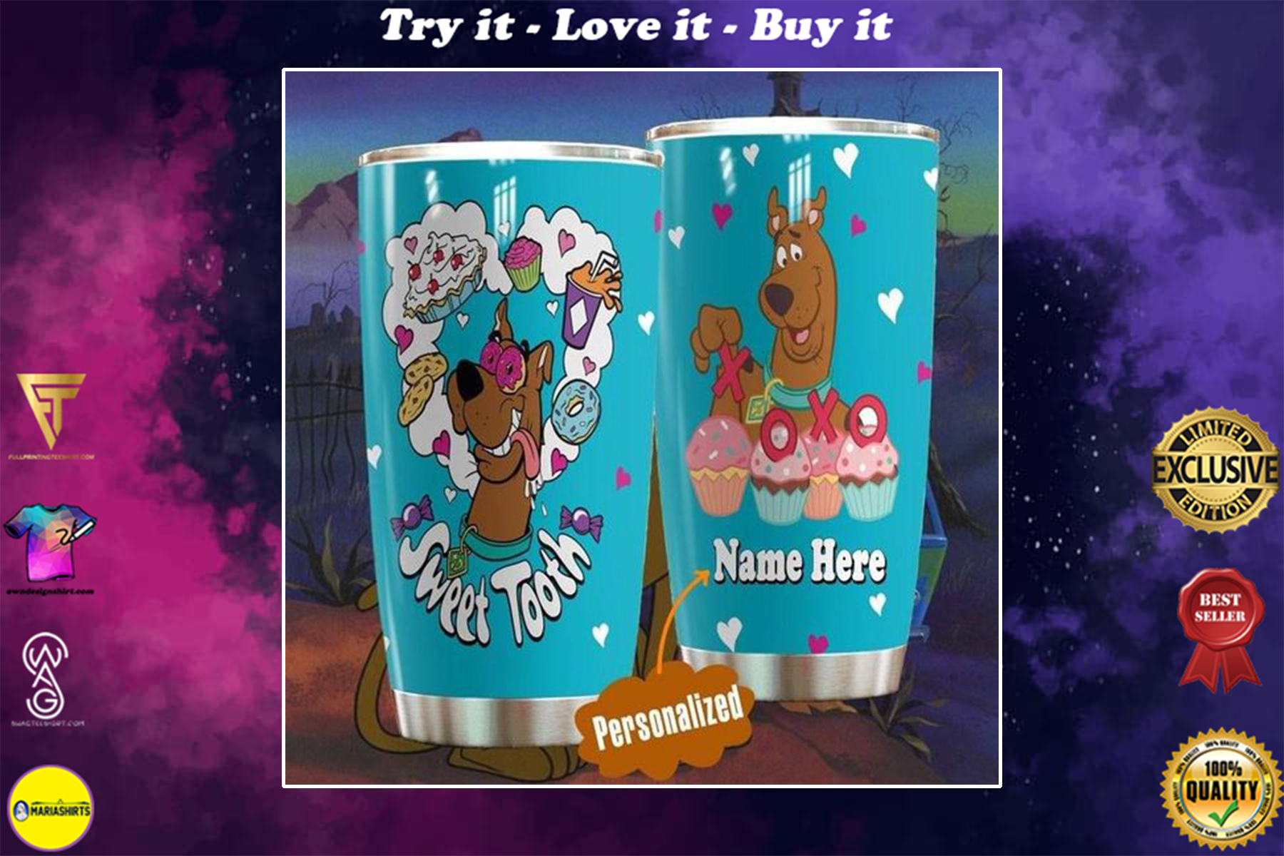 personalized name scooby-doo sweet tooth tumbler