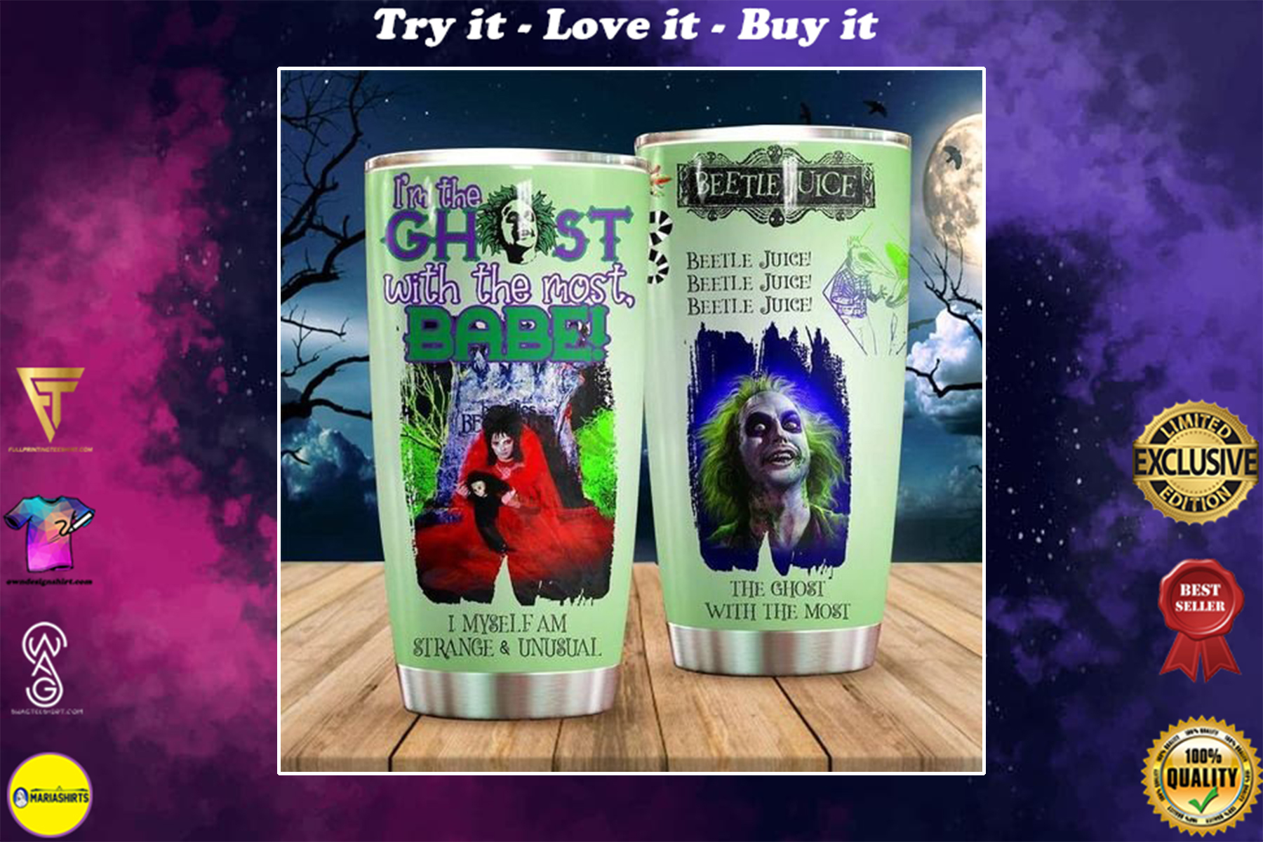 personalized name the ghost with the most beetlejuice tumbler