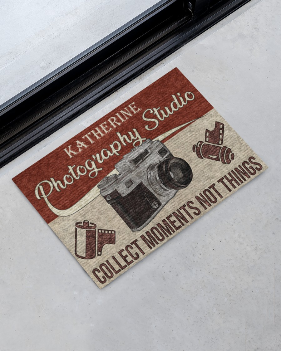 personalized photography studio collect moments not things full printing doormat 2