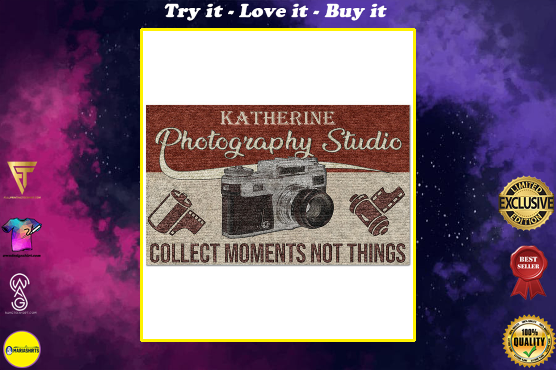 personalized photography studio collect moments not things full printing doormat