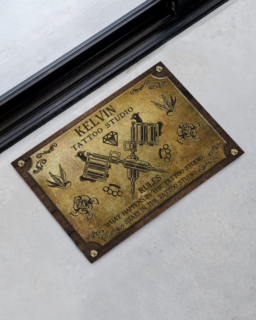 personalized tattoo studio rules full printing doormat 2