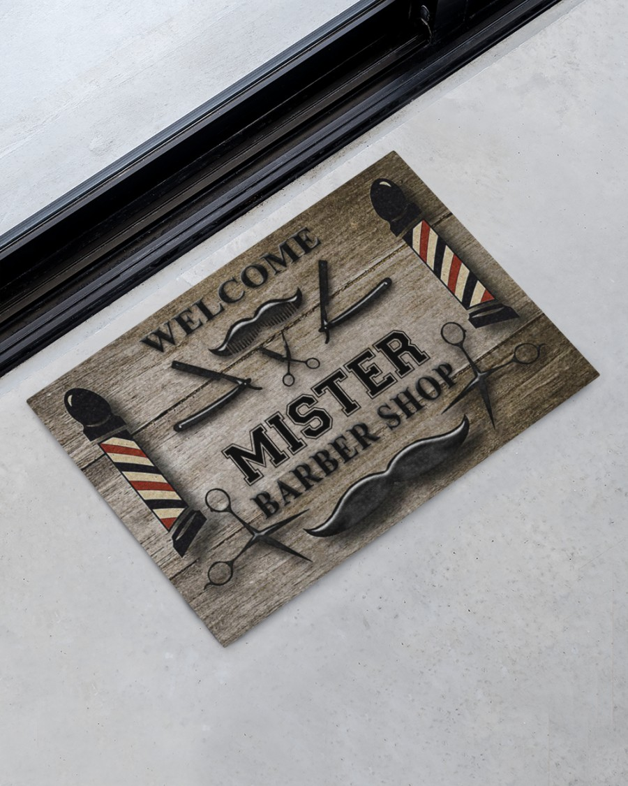 personalized welcome barber shop full printing doormat 2