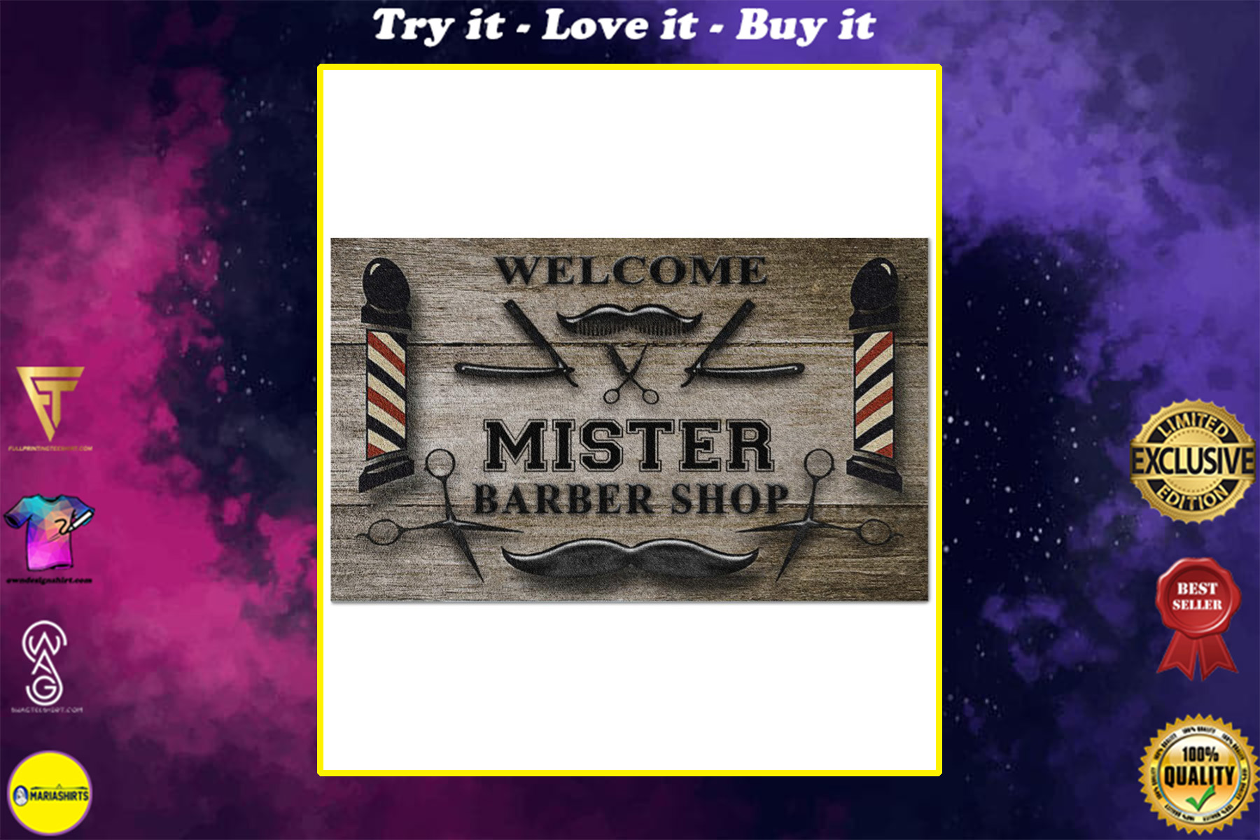 personalized welcome barber shop full printing doormat