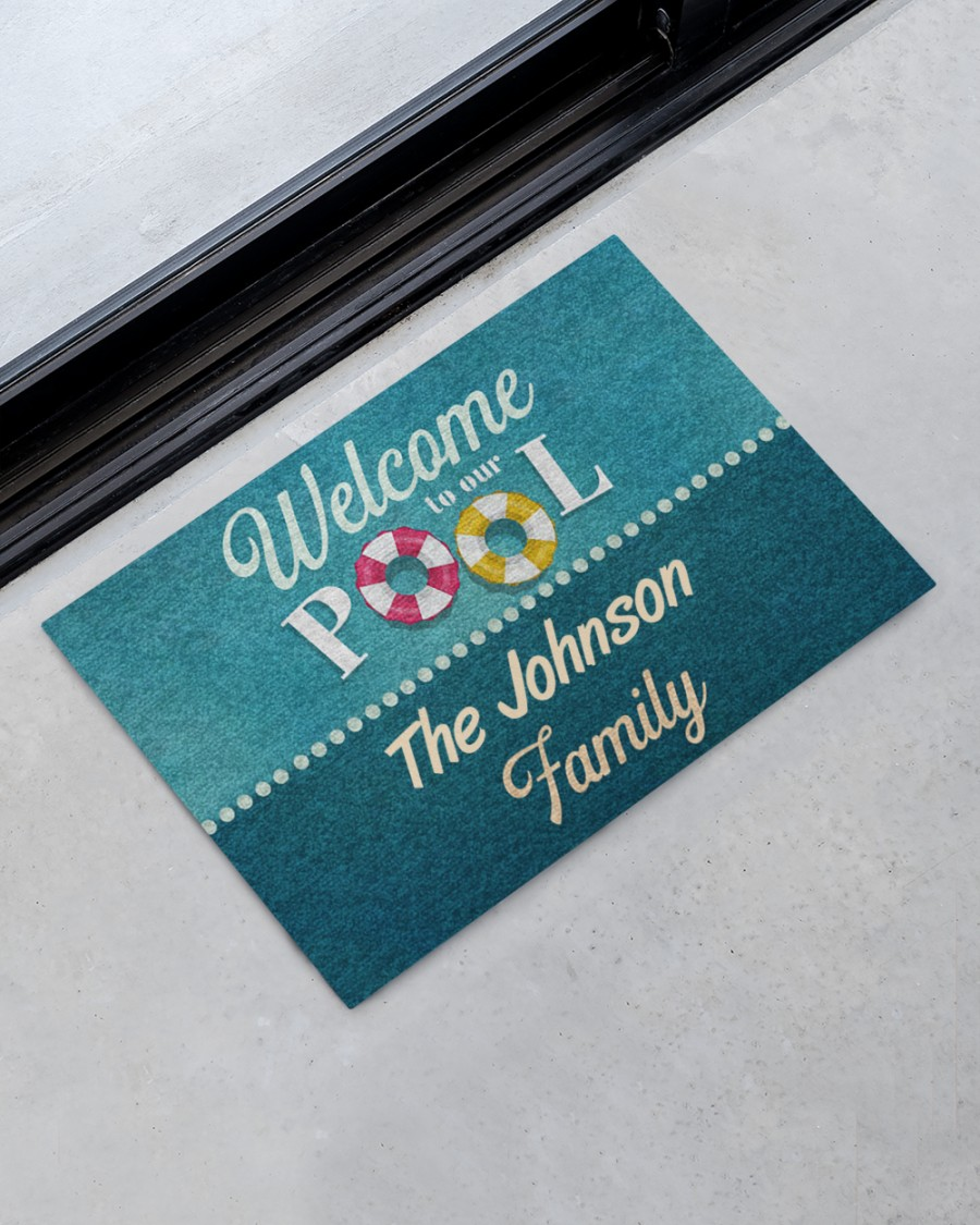 personalized welcome to our pool full printing doormat 2