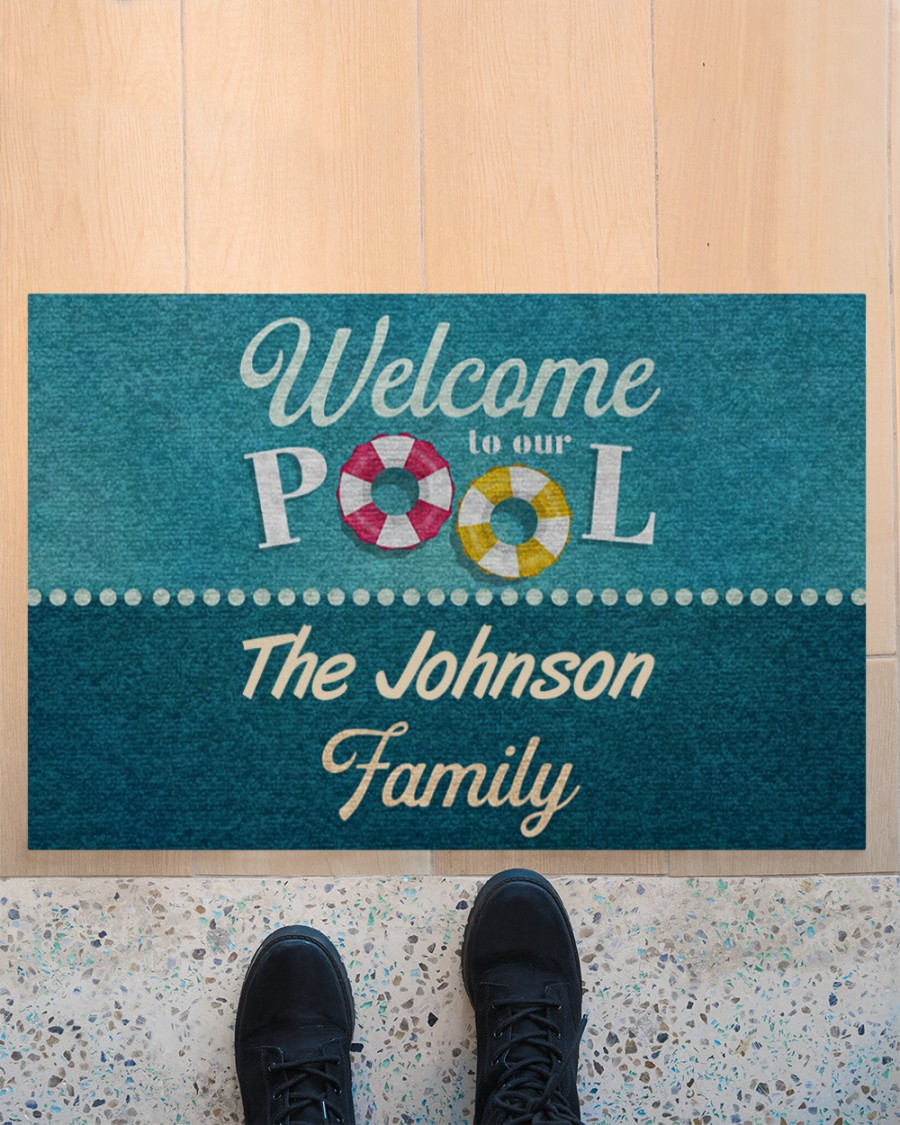 personalized welcome to our pool full printing doormat 3