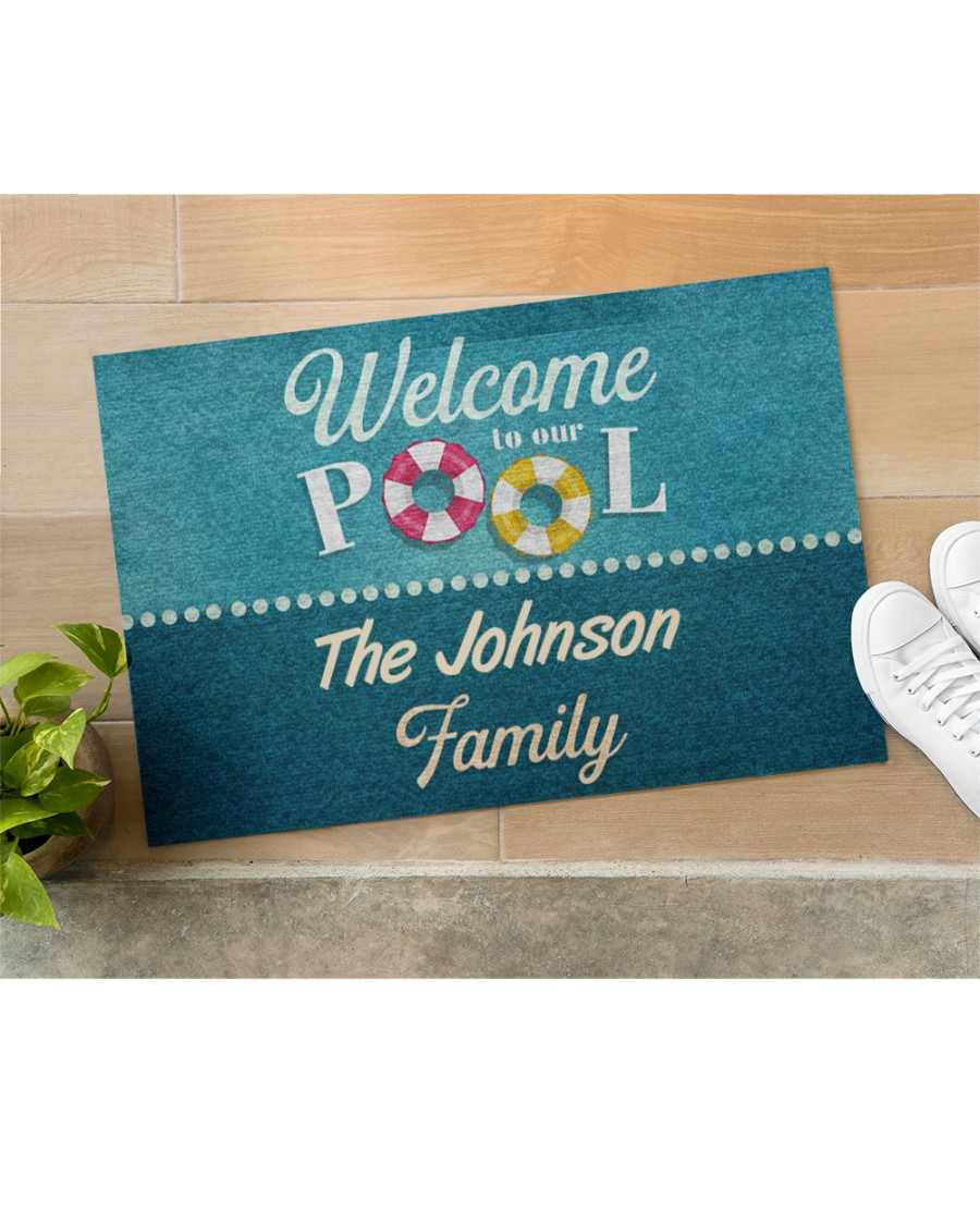 personalized welcome to our pool full printing doormat 4