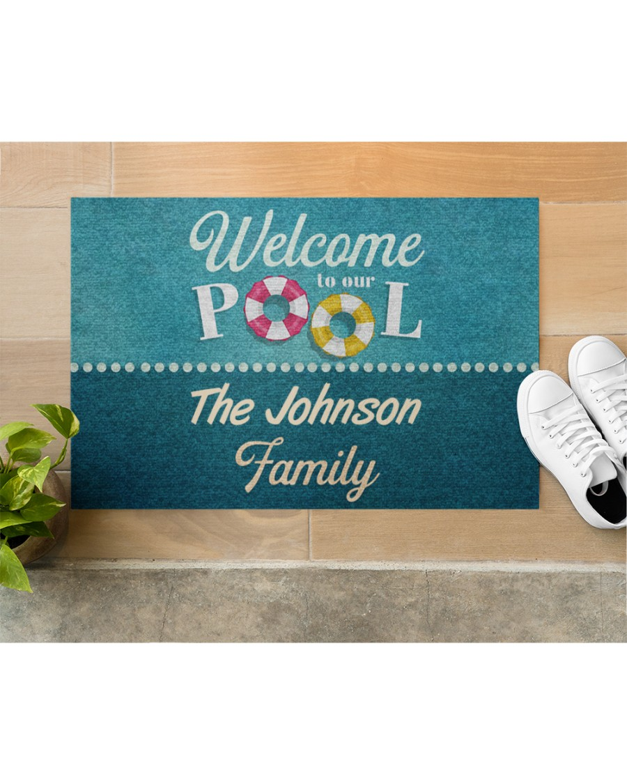 personalized welcome to our pool full printing doormat 5